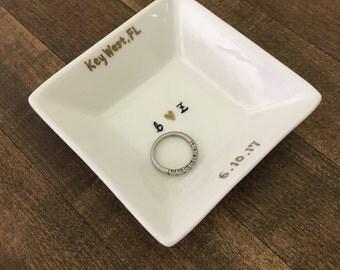 Custom hand painted square ring dish