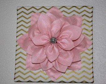 "Wall Flower-12""X12"" Pink Flower Wall Art on Gold Chevron Canvas"