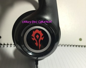 Layered vinyl stickers for headphones, cell phone, cars, decor or anything with World of Warcraft theme Horde and/or Alliance