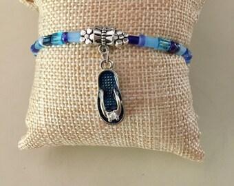 Flip Flop Bracelet, Summer, Stretch Bracelet, Beach