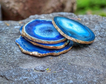 Agate Coaster Set - GOLD or SILVER Edge - Coasters - Set of 4 -  Perfect Housewarming Gift - Wedding Gift - Choose Your Colors