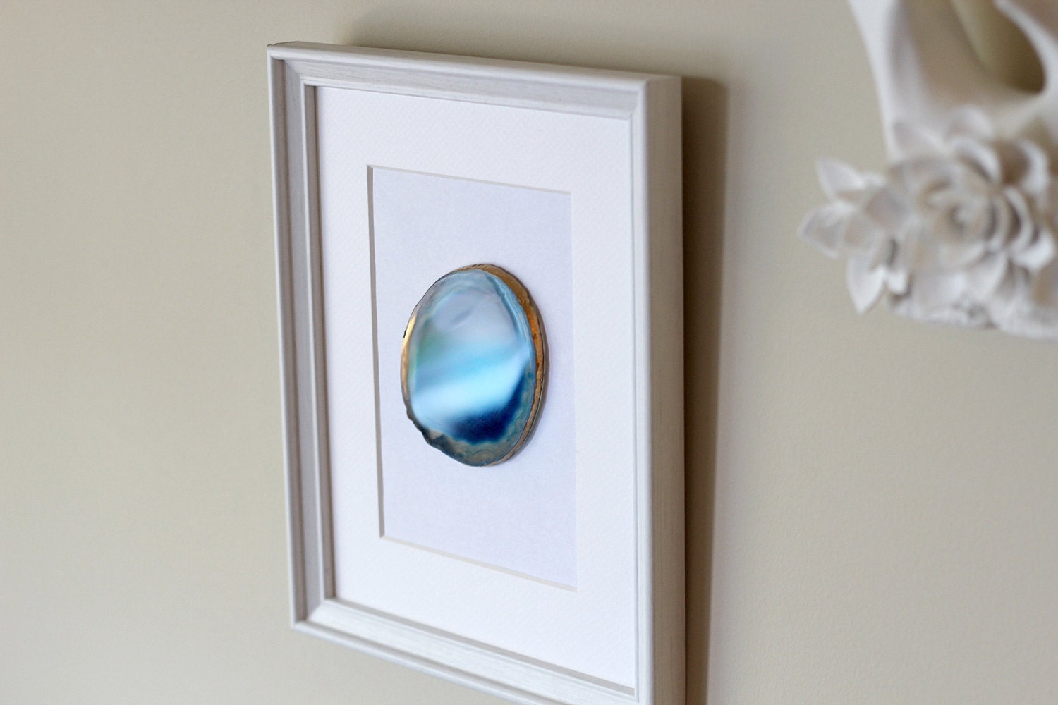 framed agate slice geode home decor white or black frame 8x10
