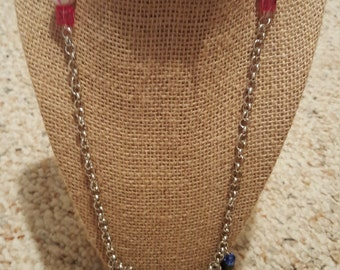 Beaded and chain, charm necklace with toggle clasp