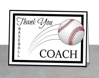 PRINTABLE Team Thank You Card for Baseball Coach, Instant Download, Little League, Baseball Mentor, Baseball Coach Thank You