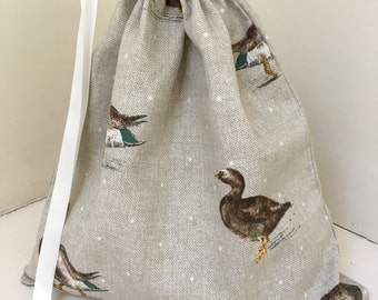 Brown Duck Drawstring bag, Make up bag, Travel bag, Toiletry bag, Cosmetic bag