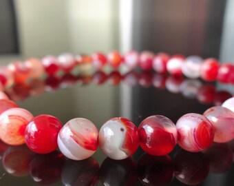 Genuine FIRE AGATE bead bracelet (On Stretch) 6mm