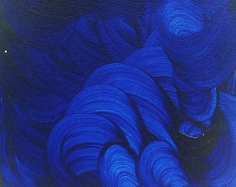 "8""x10"" Deep Blue Wave Minimalist Acrylic Painting"