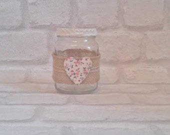 Hessian heart tealight