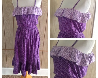 Vintage 70's purple tiny floral ruffle prairie skirt dress set - s/m