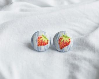 Strawberry Button Earrings