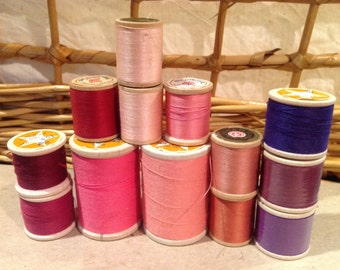 10 Vintage wooden spools of star brand thread pinks and purples
