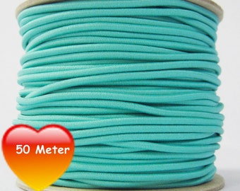 50 M rubber cord 3 mm turquoise light
