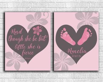 Custom Baby Nursery Decor - Baby Footprint Wall Art - Baby Girl Nursery Wall Art - New Baby Gift - Personalized Girl Room - She Is Fierce