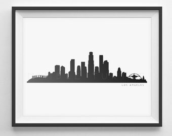 Los Angeles Skyline Silhouette  -  Printable Skyline  -  Los Angeles California  -  PDF, png, SVG, eps, JPG  -  Last Minute Gift