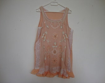 size, XL/XXl upcycled, refashioned singlet, with lace and broiderie accents, boho chic