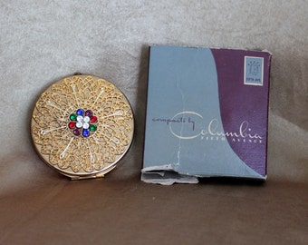 Vintage Ladies Compact Mirror, Columbia Fifth Avenue Compact, Vintage Jeweled Compact
