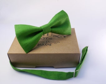 Green Linen Bow Tie For Groomsmen / Boy's, Baby's, Men at wedding