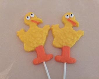 Sesame Street Big Bird Chocolate Lollipops (12 qty)-Birthday Party/Party Favors/Big Bird/Sesame Street/Big Bird Lollipop/Sesame Street Favor