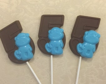 NUMBER FIVE MONKEY Chocolate Lollipop(12qty)-Birthday Party/Safari Party/Baby Zoo Animal/Monkey Favors/Party Favor/Fifth Birthday/Monkeys