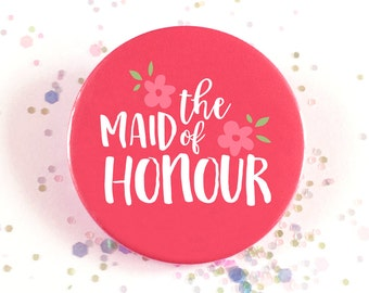 "Hen Party Badge, Hen Night, Bachelorette Badge, Wedding Favour, Hot Pink, ""The Maid of Honour"""