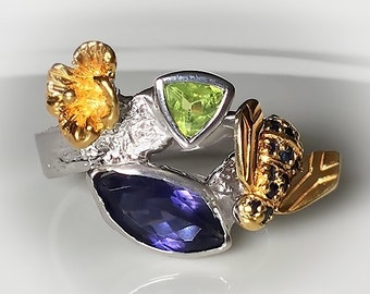 Golden Bee with Sapphires on Sterling Silver Ring Size 9.5