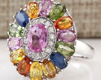 5.20CTW Natural Multi Color Ceylon Sapphire Diamond Ring In 14k white Gold