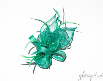 Mint Classic Sinamay Flower Fascinator/Clip