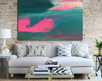Abstract art print, abstract print, modern art abstract, minimalist painting, from original abstract painting, aqua, green