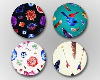 Sweet Enchanted Magnet Set - Flower/Feather/Bird Pattern Magnet Set - Watercolor Magnets