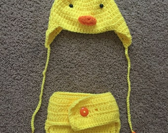 Duck Diaper Cover and Hat