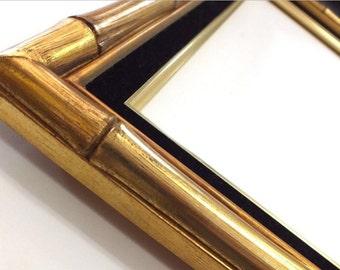 16 x 20 Gold Wood Bamboo Picture Frame Black Velvet liner Asian Oriental
