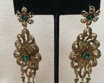 Emerald Green Floral Dangle Earrings