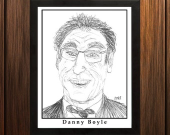 Danny Boyle - Sketch Print - 8.5x11 inches - Black and White - Pen - Caricature Poster