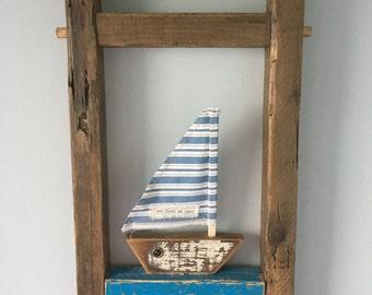 Wooden Framed Boat Picture