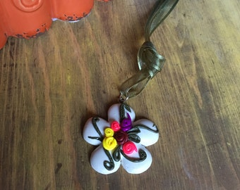 Polymer clay flower pendant necklace