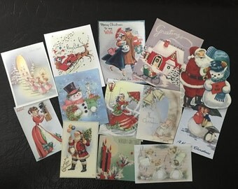 BB48 -- Lot of 13 Vintage CHRISTMAS Greeting Card Die Cuts for Card Making Free Shipping