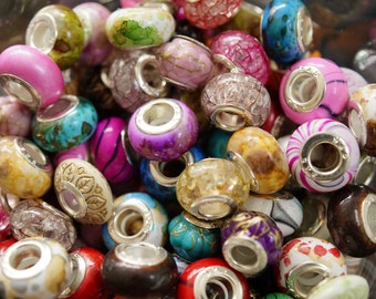 100 EUROPEAN BEADS pandora style multicolor