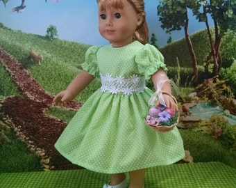For American Girl Dolls and Other 18 inch dolls! Dainty Mint Green Vintage Dotted Swiss dress.