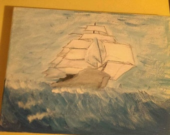 hand painting of ship