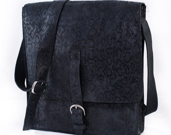 Black Animal Print Messenger Bag