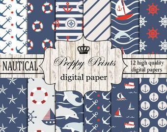 Digital paper pack, Printable paper pack, Scrapbook papers, Digital collage sheets, Nautical scrapbook patterns, Digital paper printable