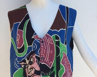 Vtg 70s 80s art to wear wearable art painted samurai vest top like kansai yamamoto