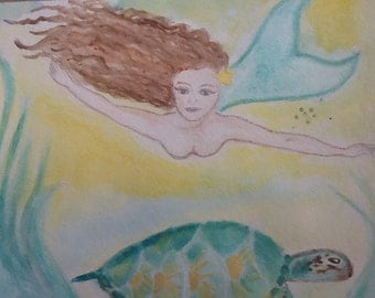 Mermaide and turtle