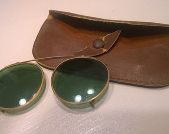 Antique Sunglasses Early 1900's With Brown Case