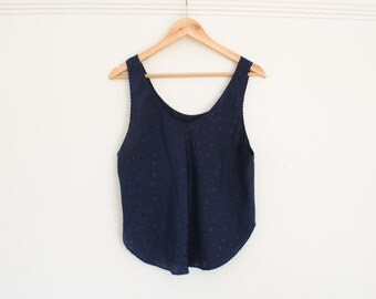 Vintage Satin Tank Top - navy with dots