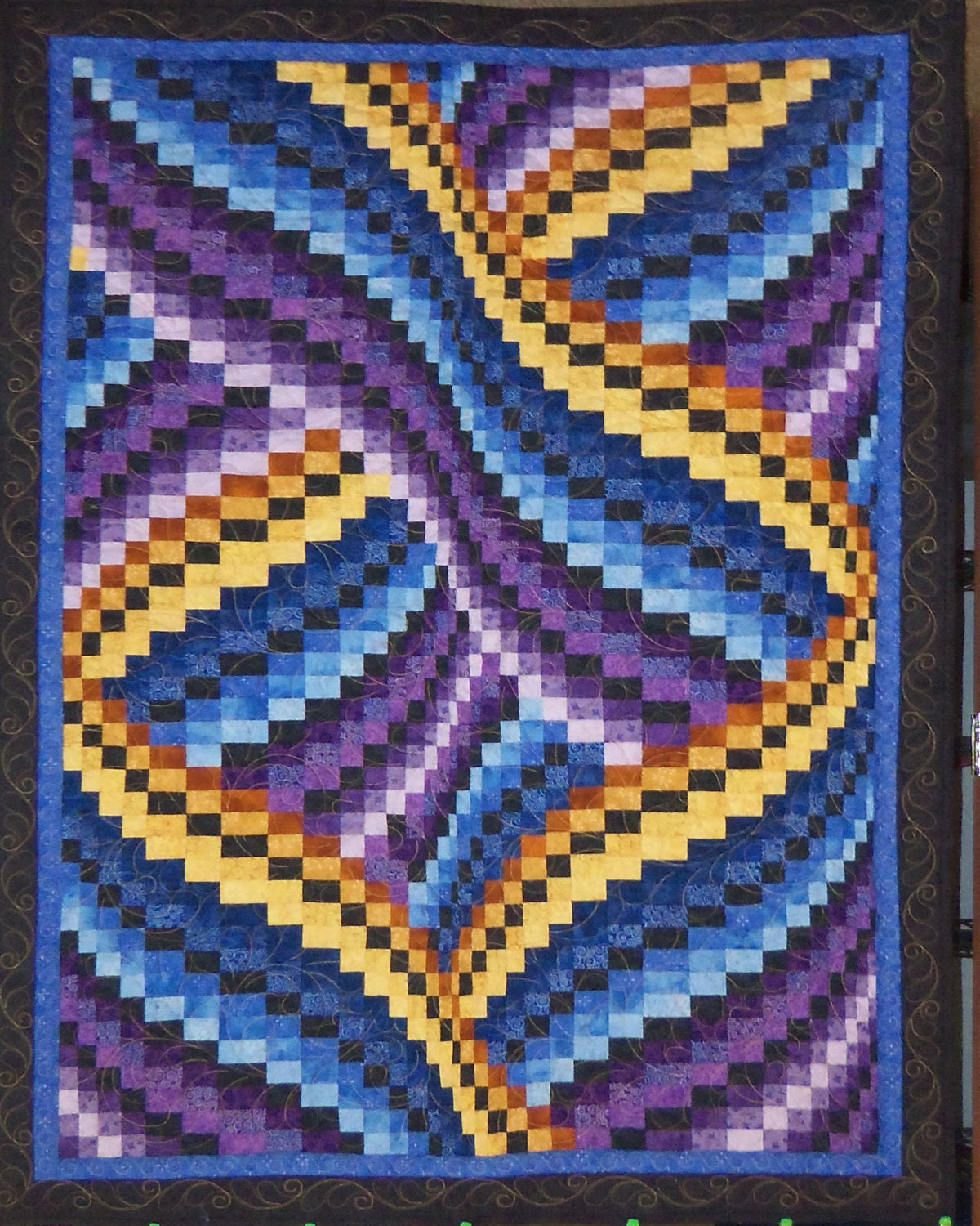 twisted bargello wall hanging lap quilt