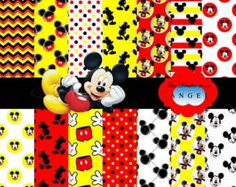 Digital paper kit party Mickey / Mickey Digital Papers Clipart
