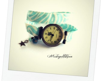 wristwatch in blue and white fabric