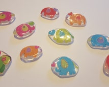 Elephant Resin Magnets, Elephants and Hearts Magnets, Set of 10