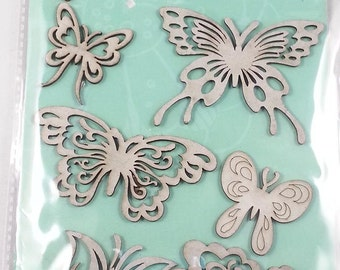 10 chipboard 3D stickers for scrapbooking and card making or decorating, Rahmenn (butterflies)